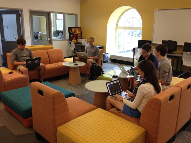 Students taking advantage of new research/coursework space