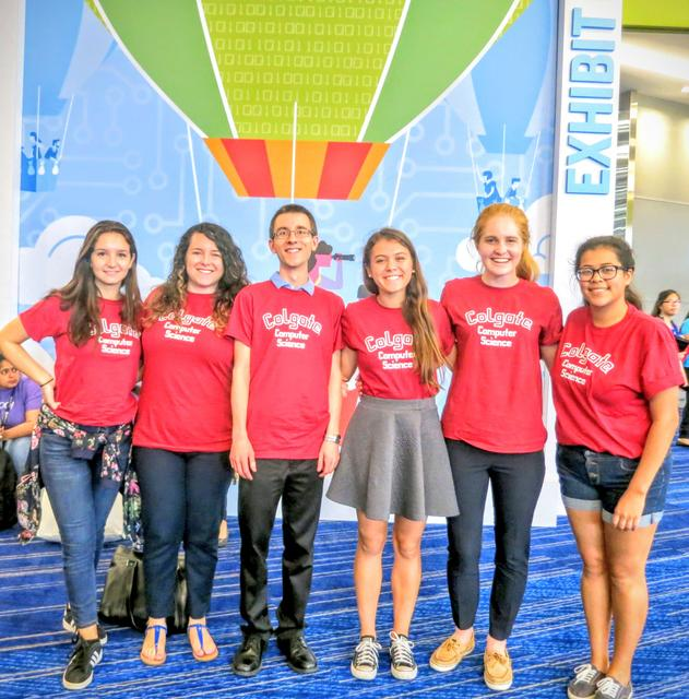Stephanie Tortora '17, Prof. Madeline E. Smith, Prof. Aaron Gember-Jacobson, Bria Vicenti '17, Lauren Henske '20, and Zoila Rodriguez '18 representing Colgate Computer Science at the 2016 Grace Hopper